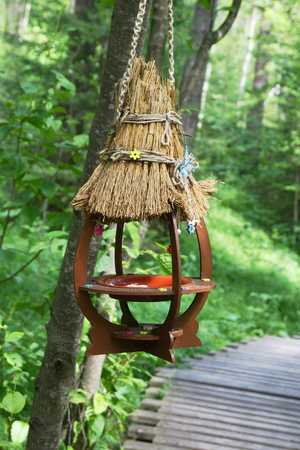 A handmade birdfeeder is in the city park. The simplest type. Stock Photo