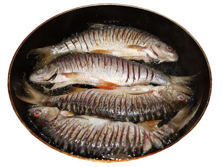 fresh water fish: Cooking fresh water fish in the pan