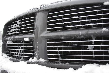 grille: Winter offroad series. Dodge Ram Grille Stock Photo