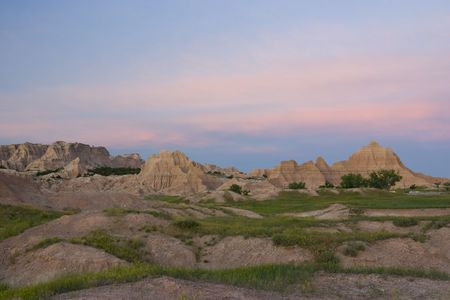 badlands: Changing evening sky over the Badlands in South Dakota Stock Photo
