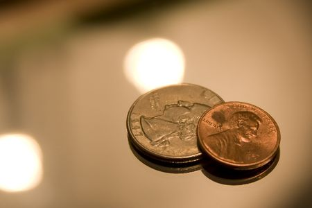 Close up of US Coins. Stock Photo - 2398116