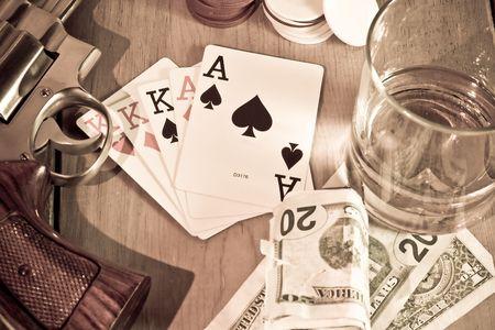Amerikaanse Geschiedenis, gambleing, drank, wapens. Sepia met kleine korrels en vignet. Zie de rest van de set. Stockfoto