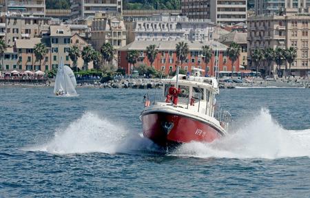 patrol: Patrol boat of firefighters in navigation
