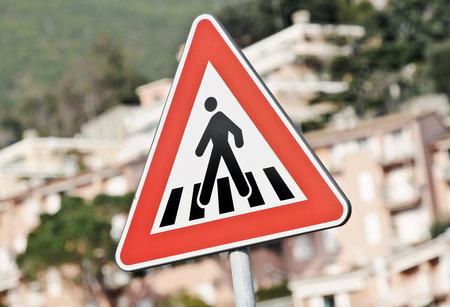signal pole: Road sign warning Stock Photo