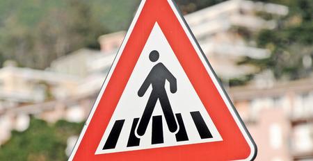 Road sign warning Stock Photo