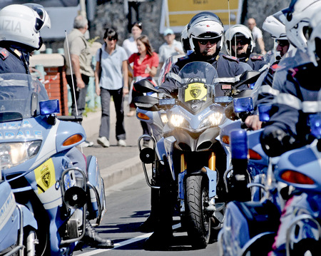 motorcycle officer: Traffic police of the Italian state