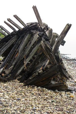 ship wreck: wooden ship wreck