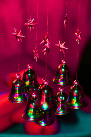 metal filament: stars and bells - christmas Stock Photo