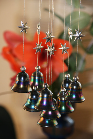 metal filament: stars and bells - christmas Stock Photo