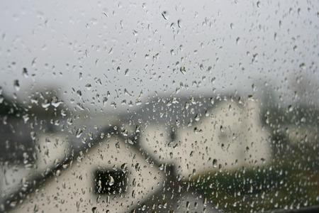 lotus effect: raindrops on window