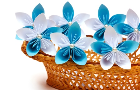 Paper flower in a basket photo