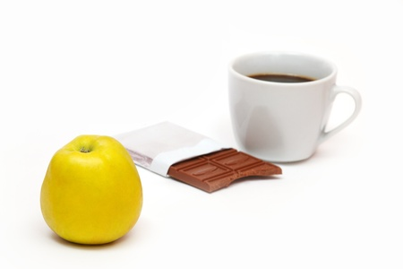 Apple and coffee with chocolate Stock Photo - 18239290