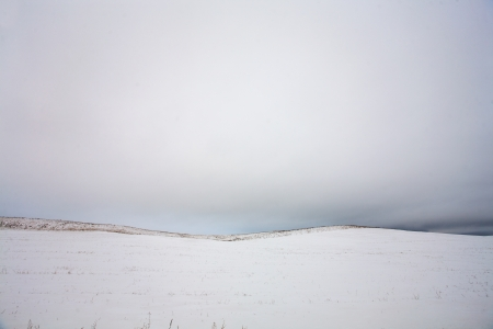 Winter landscape with snow and hill