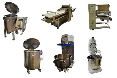half stuff: Set of bakery equipment under the white background
