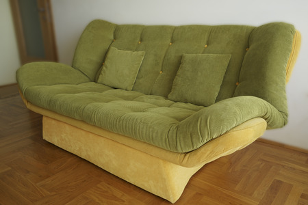 green sofa: Close-up green sofa