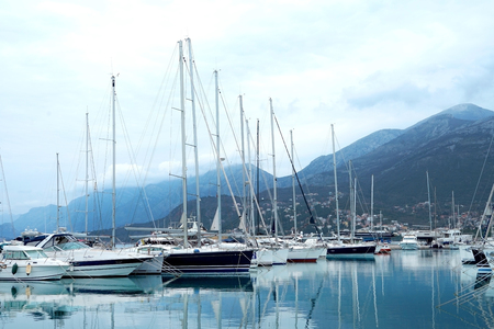 berth: Bar, Montenegro, March, 28, 2016: Boats and yachts in a berth of Bar Editorial