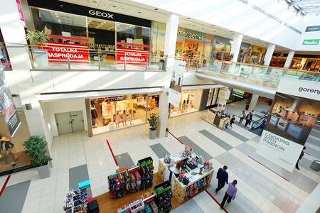 trading floor: Podgorica, Montenegro, April, 19, 2016: Interior of a modern shopping center Delta City Editorial