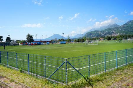 arbitrator: Bar, Montenegro, April, 22, 2016: Football match between local teams at open city stadium