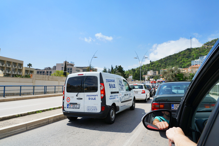 budva: Budva, Montenegro, April, 12, 2016: Traffic jam in a road from Bar to Budva before the entry in the city