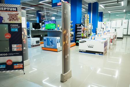 neptun: Podgorica, Montenegro, April, 19, 2016: Interior of a modern shopping center Neptun Editorial