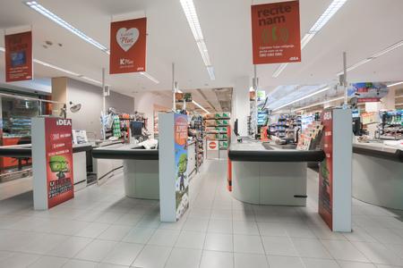 trading floor: Podgorica, Montenegro, April, 19, 2016: Interior of a modern supermarket IDEA.