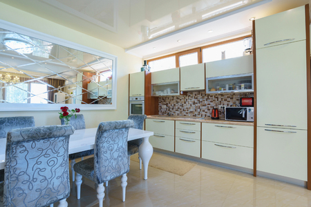 guest house: Interior of a guest house room with kitchen