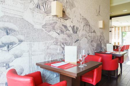 Interior of a chain sushi restaurant