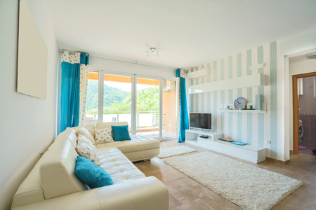 APARTMENT LIVING: Interior of a living room in a villa Stock Photo