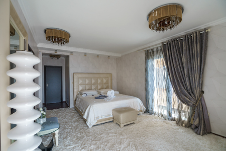 Interior of a bedroom in a luxurious villa
