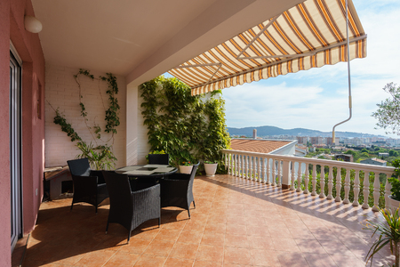 Terrace of a private house with a sea view Stock Photo