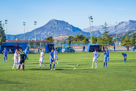 Bar, Montenegro, January, 24, 2019: Training of the football team of the city Bar in the open city stadium