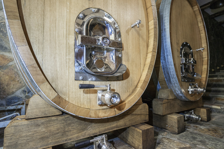 Winery production. Interior of a winery with its equipment Stock Photo