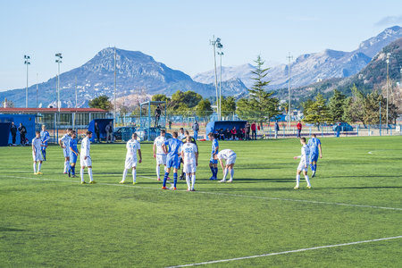 Bar, Montenegro, January, 24, 2019: Companionable match between football teams Mornar of the Bar town and Grbalj of Budva at the open air city stadium of Bar, Montenegro