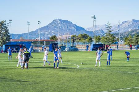 Bar, Montenegro, January, 24, 2019: Companionable match between football teams Mornar of the Bar town and Grbalj of Budva at the open air city stadium of Bar, Montenegro