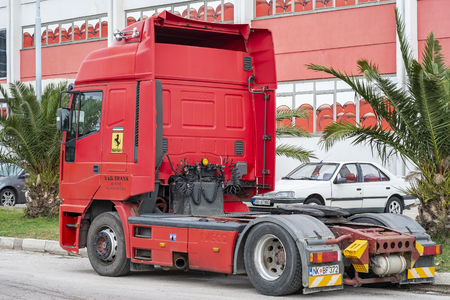 Bar, Montenegro, February 04, 2019: Truck is parked in the parking lot at the warehouse in the open air