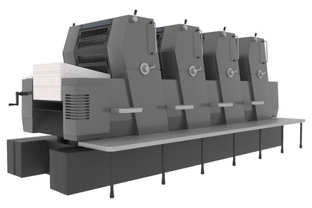 Printing solutions: industrial offset printer four-colors isolated on white background Stock Photo