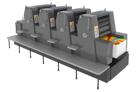 Printing solutions: industrial offset printer four-colors isolated on white background Banque d'images