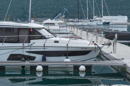 Portonovi, Montenegro, October, 24, 2020: Marina of an idyllic Mediterranean-style resort village set amid the wild beauty of Montenegro's Boka Bay
