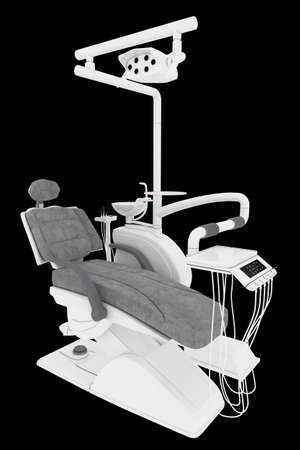 Dental office equipment isolated on a black background. Interior of a dental clinic