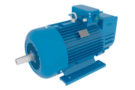 5MT series DC electric motor isolated on a white background. 5 MT series electric motors are a part of high torque drives and are used for feed mechanisms in CNC metal cutting machines, robots, trans Standard-Bild