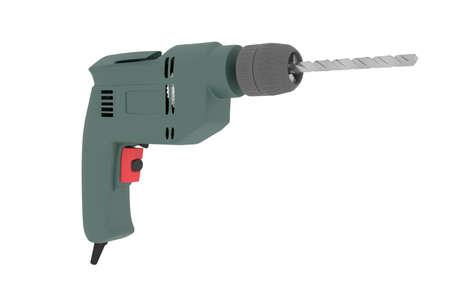 Construction manual electric drill isolated on a white background