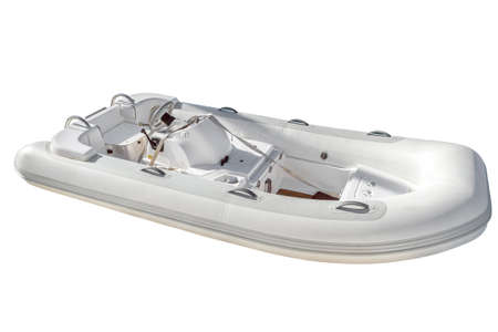 White rubber inflatable motor boat for tourism, travel and fishing, isolated on white background, side and top view Stok Fotoğraf