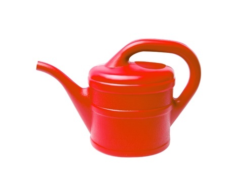 Red watering can isolated on white background Stock Photo