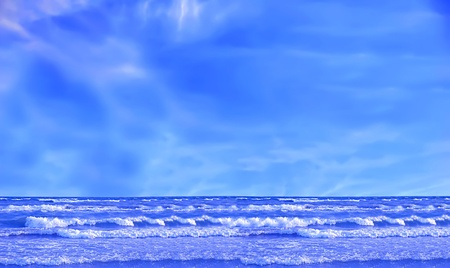 Wave ocean and blue sky photo