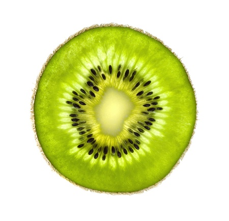 Closeup of kiwi slice isolated on white background