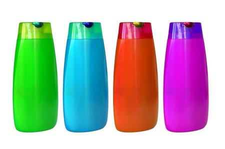 Multicolor bottles of shampoo isolated on white Stock Photo
