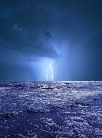Ocean storm with lightning photo