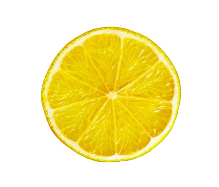 Fresh juicy lemon slice isolated on white background Stock Photo - 10297369
