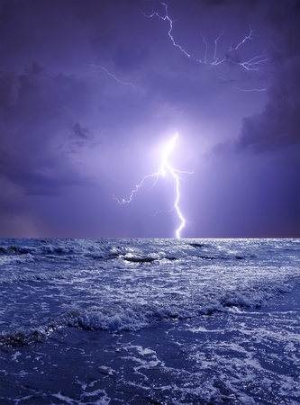 Ocean storm with lightning Stock Photo