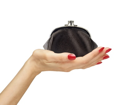 hands on pockets: black purse in woman hand isolated on white background Stock Photo